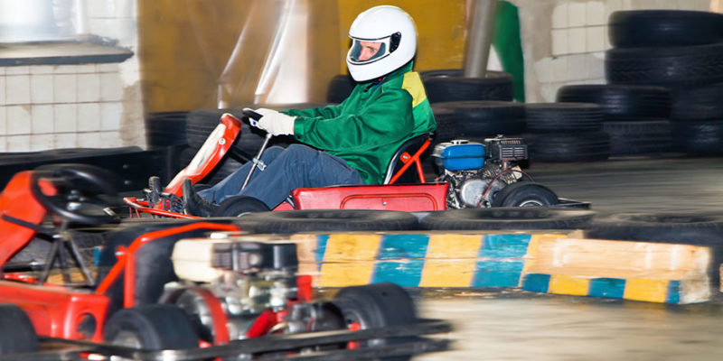 The man at the wheel go-cart racing on training